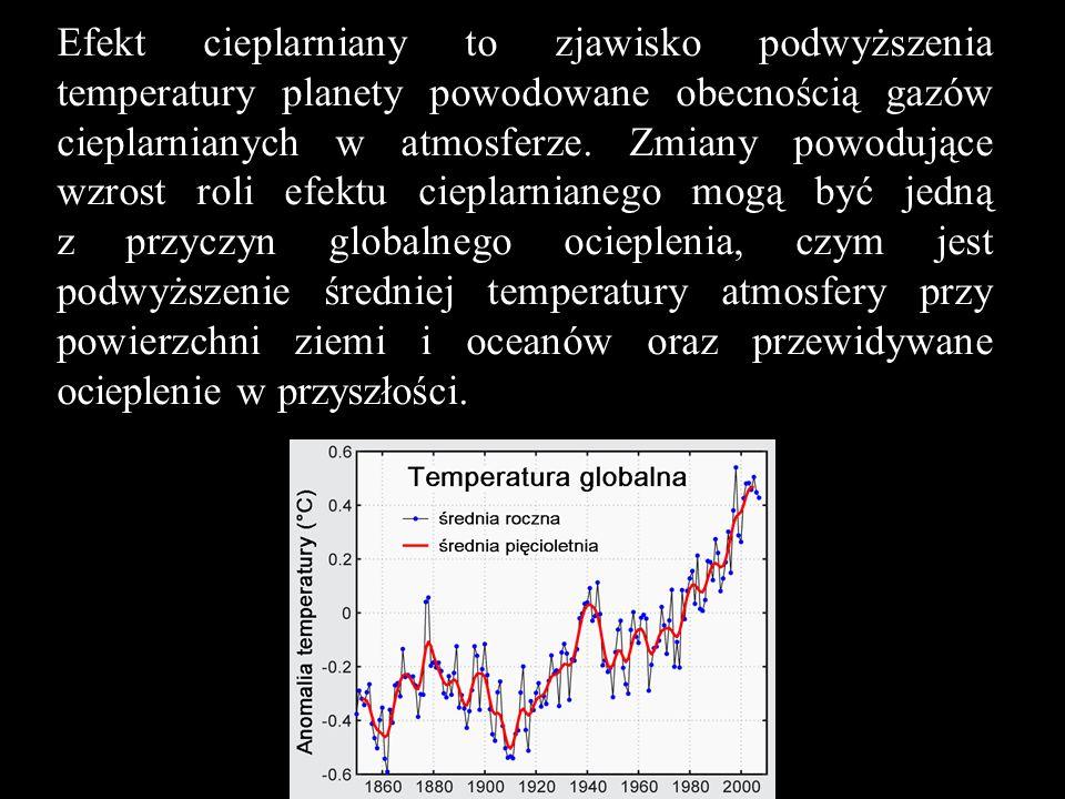 Efekt cieplarniany to zjawisko podwyższenia temperatury planety powodowane obecnością gazów cieplarnianych w atmosferze. Zmiany powodujące wzrost roli