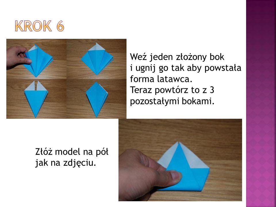 Weź jeden złożony bok i ugnij go tak aby powstała forma latawca.
