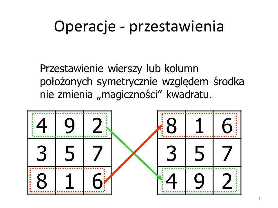 Operacje - przestawienia 6 492 357 816 Przestawienie wierszy lub kolumn położonych symetrycznie względem środka nie zmienia magiczności kwadratu.