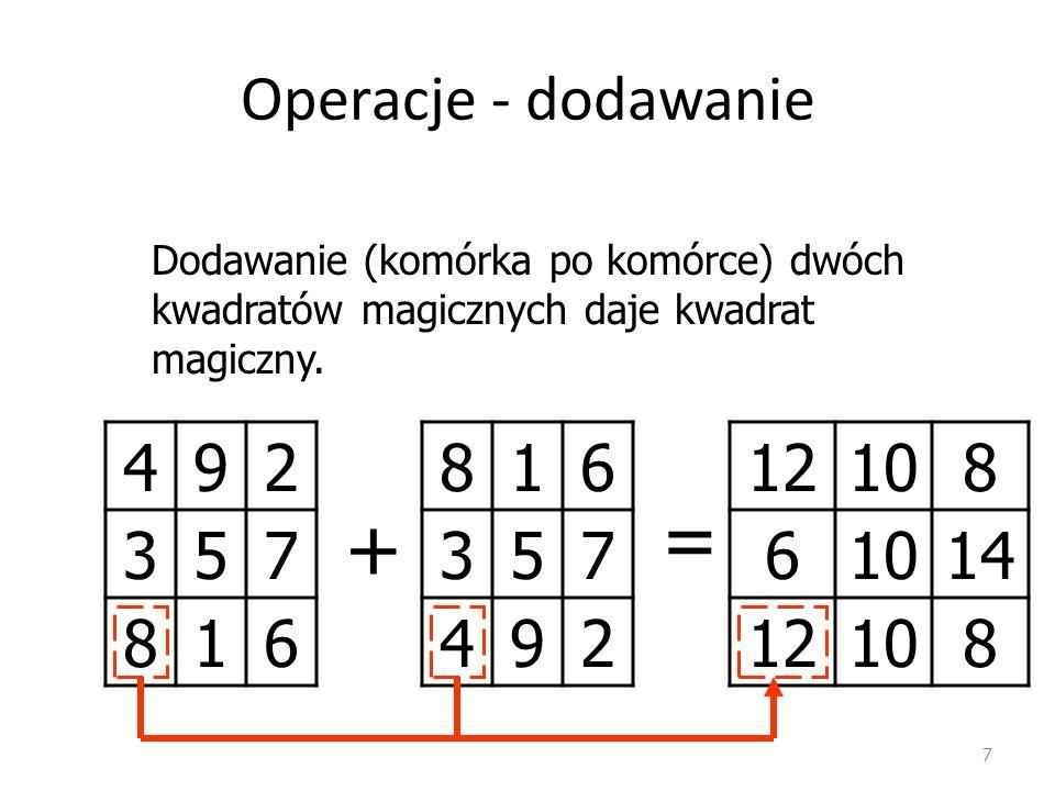 Operacje - dodawanie 7 492 357 816 Dodawanie (komórka po komórce) dwóch kwadratów magicznych daje kwadrat magiczny.