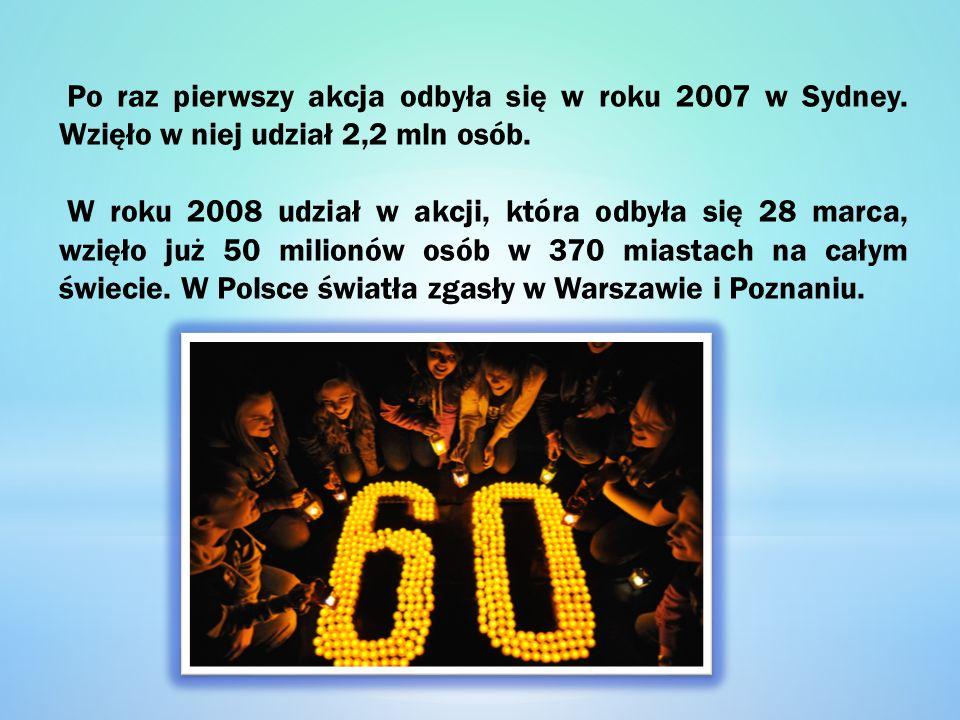 Po raz pierwszy akcja odbyła się w roku 2007 w Sydney. Wzięło w niej udział 2,2 mln osób. W roku 2008 udział w akcji, która odbyła się 28 marca, wzięł