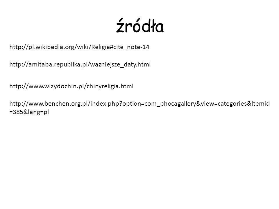 źródła http://www.wizydochin.pl/chinyreligia.html http://amitaba.republika.pl/wazniejsze_daty.html http://www.benchen.org.pl/index.php?option=com_phoc