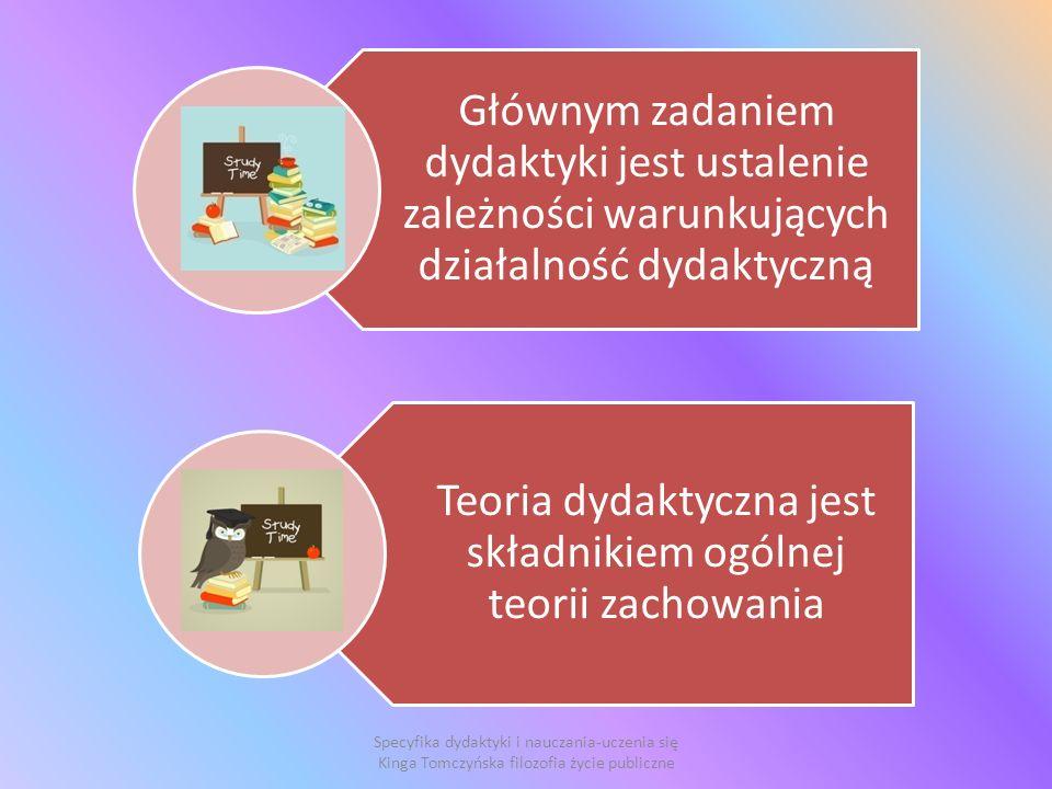 Głównym zadaniem dydaktyki jest ustalenie zależności warunkujących działalność dydaktyczną Teoria dydaktyczna jest składnikiem ogólnej teorii zachowania