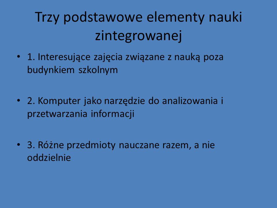 Trzy podstawowe elementy nauki zintegrowanej 1. Interesujące zajęcia związane z nauką poza budynkiem szkolnym 2. Komputer jako narzędzie do analizowan