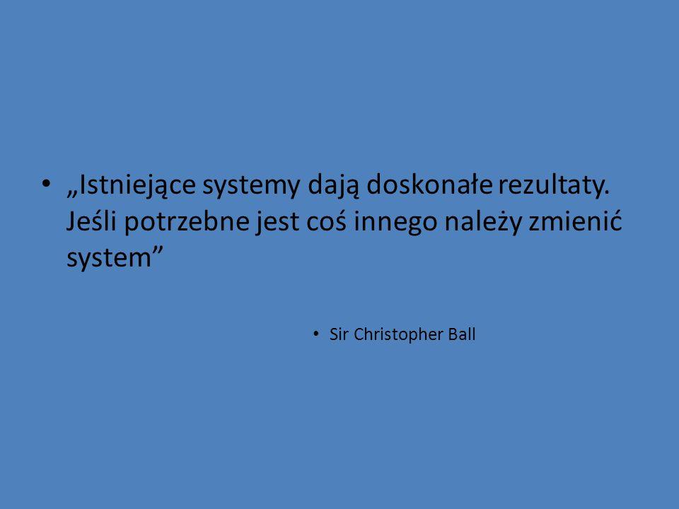 Istniejące systemy dają doskonałe rezultaty. Jeśli potrzebne jest coś innego należy zmienić system Sir Christopher Ball