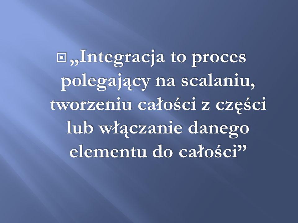Integracja to proces polegający na scalaniu, tworzeniu całości z części lub włączanie danego elementu do całości Integracja to proces polegający na sc