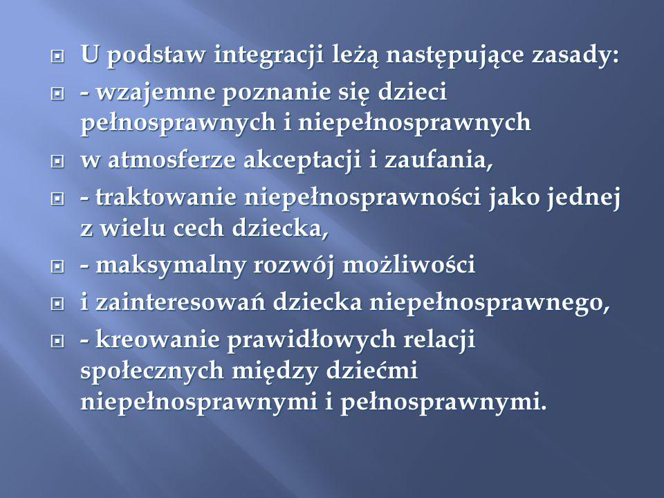U podstaw integracji leżą następujące zasady: U podstaw integracji leżą następujące zasady: - wzajemne poznanie się dzieci pełnosprawnych i niepełnosp