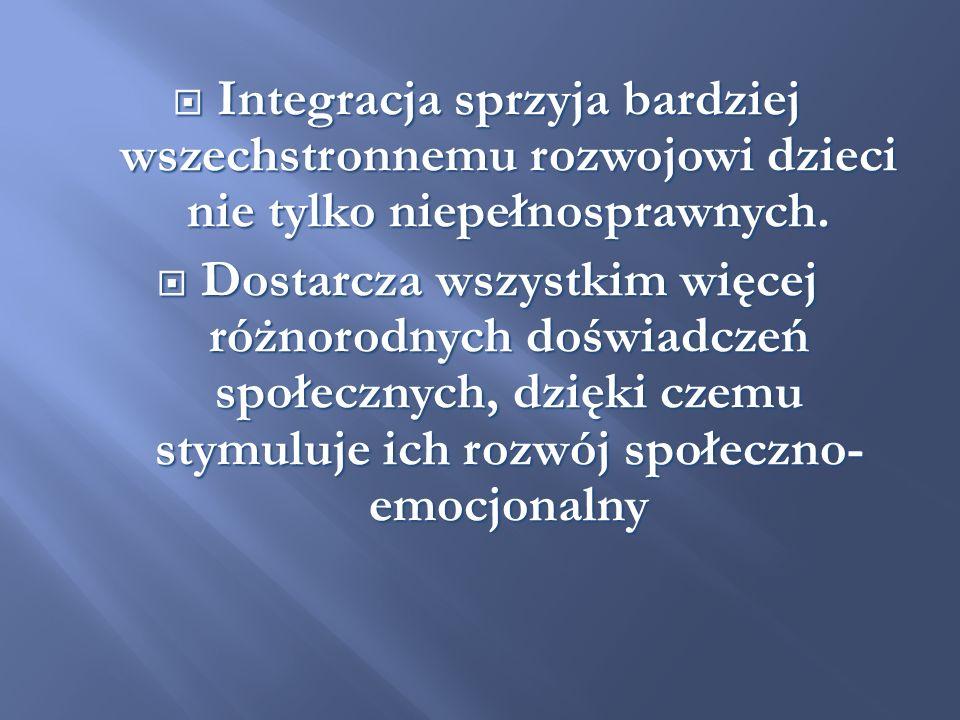 Należy pamiętać, że integracja to stan wzajemnej akceptacji oparty Należy pamiętać, że integracja to stan wzajemnej akceptacji oparty na rozumieniu potrzeb innych na rozumieniu potrzeb innych i wzajemnej pomocy w ich realizacji.