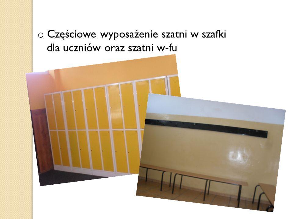o Częściowe wyposażenie szatni w szafki dla uczniów oraz szatni w-fu