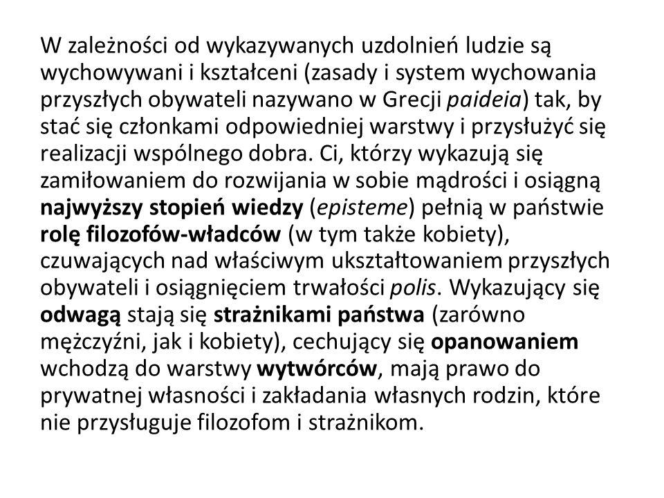 W zależności od wykazywanych uzdolnień ludzie są wychowywani i kształceni (zasady i system wychowania przyszłych obywateli nazywano w Grecji paideia)