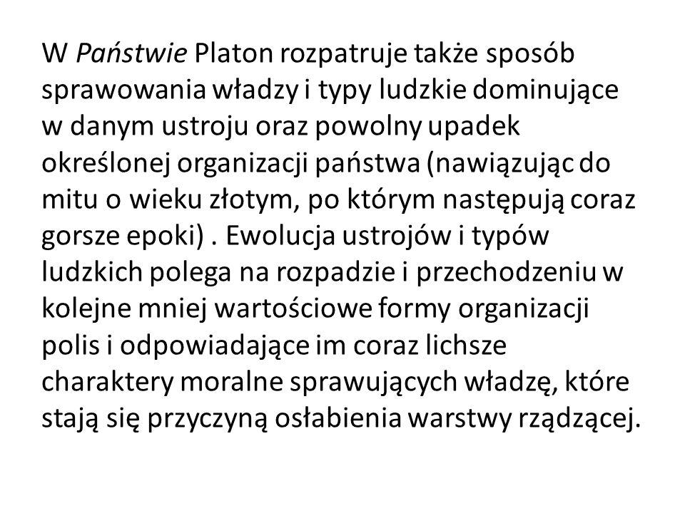 W Państwie Platon rozpatruje także sposób sprawowania władzy i typy ludzkie dominujące w danym ustroju oraz powolny upadek określonej organizacji pańs