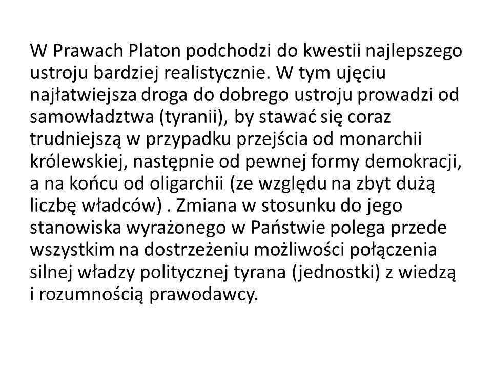 W Prawach Platon podchodzi do kwestii najlepszego ustroju bardziej realistycznie. W tym ujęciu najłatwiejsza droga do dobrego ustroju prowadzi od samo