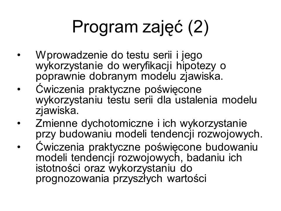 Program zajęć (2) Wprowadzenie do testu serii i jego wykorzystanie do weryfikacji hipotezy o poprawnie dobranym modelu zjawiska. Ćwiczenia praktyczne