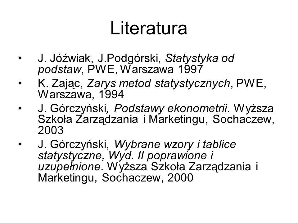 Literatura J. Jóźwiak, J.Podgórski, Statystyka od podstaw, PWE, Warszawa 1997 K. Zając, Zarys metod statystycznych, PWE, Warszawa, 1994 J. Górczyński,
