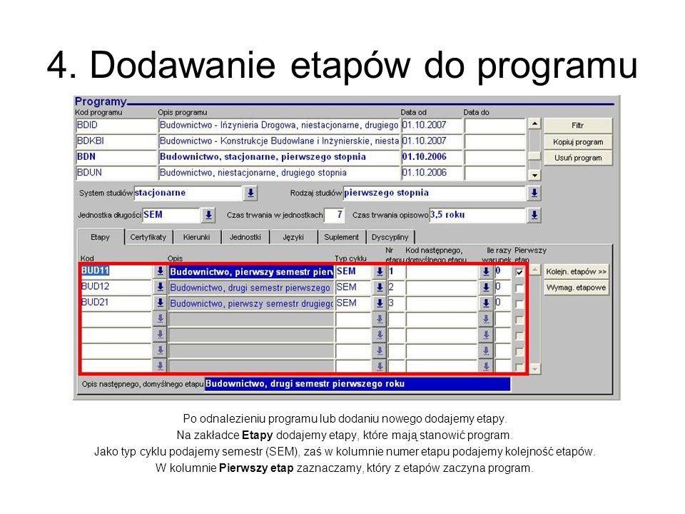 4. Dodawanie etapów do programu Po odnalezieniu programu lub dodaniu nowego dodajemy etapy. Na zakładce Etapy dodajemy etapy, które mają stanowić prog