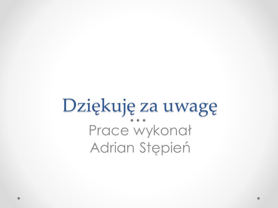 Dziękuję za uwagę Prace wykonał Adrian Stępień