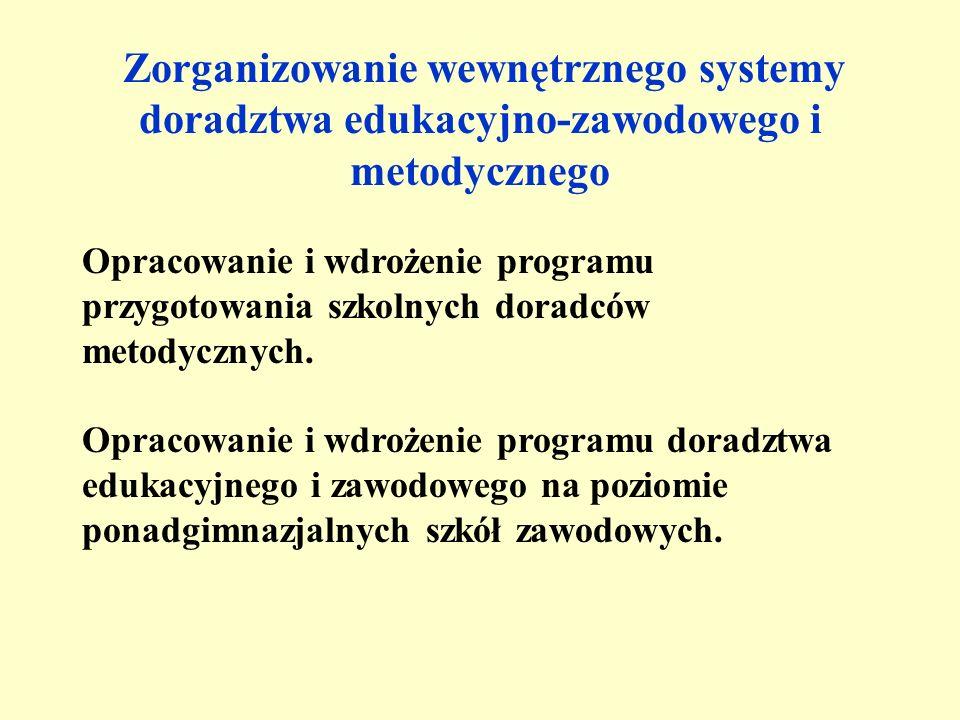 Zorganizowanie wewnętrznego systemy doradztwa edukacyjno-zawodowego i metodycznego Opracowanie i wdrożenie programu przygotowania szkolnych doradców metodycznych.