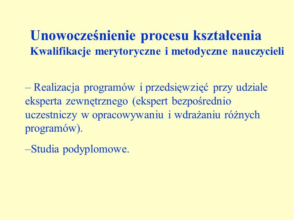 – Realizacja programów i przedsięwzięć przy udziale eksperta zewnętrznego (ekspert bezpośrednio uczestniczy w opracowywaniu i wdrażaniu różnych programów).