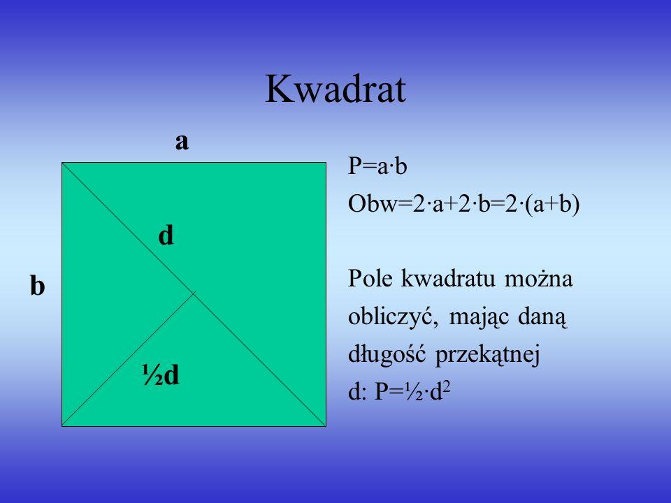 Kwadrat P=a·b Obw=2·a+2·b=2·(a+b) Pole kwadratu można obliczyć, mając daną długość przekątnej d: P=½·d 2 a b d ½d½d