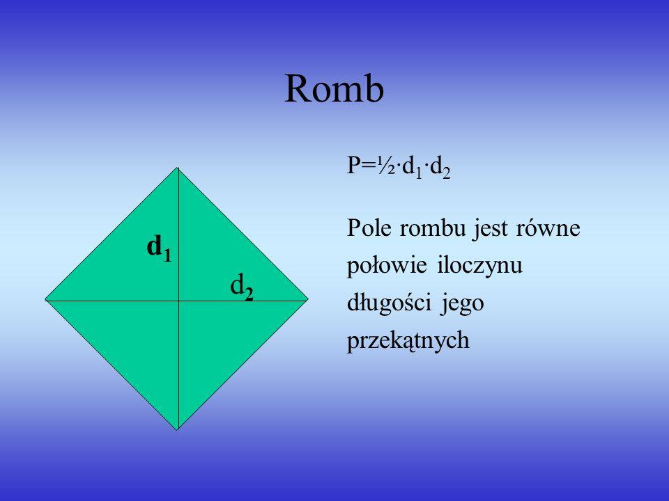 Romb P=½·d 1 ·d 2 Pole rombu jest równe połowie iloczynu długości jego przekątnych d1d1 d2d2