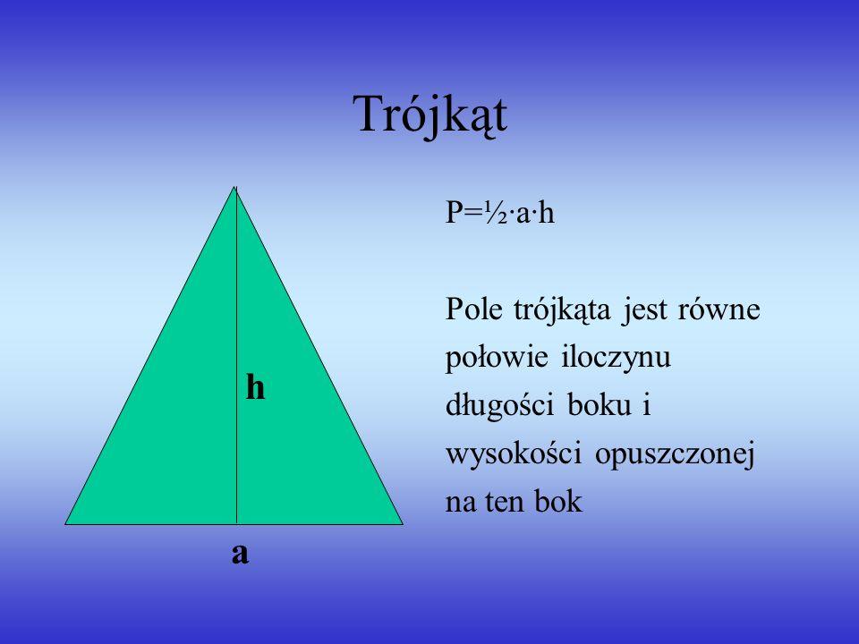 Trapez P=½·h·(a+b) Pole trapezu jest równe połowie iloczynu jego wysokości przez sumę długości podstaw a b h