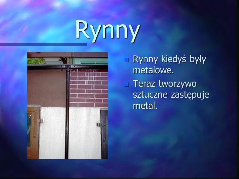 Rynny n Rynny kiedyś były metalowe. n Teraz tworzywo sztuczne zastępuje metal.