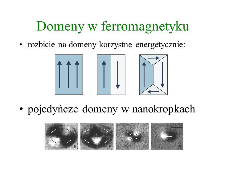 Domeny w ferromagnetyku rozbicie na domeny korzystne energetycznie: pojedyńcze domeny w nanokropkach