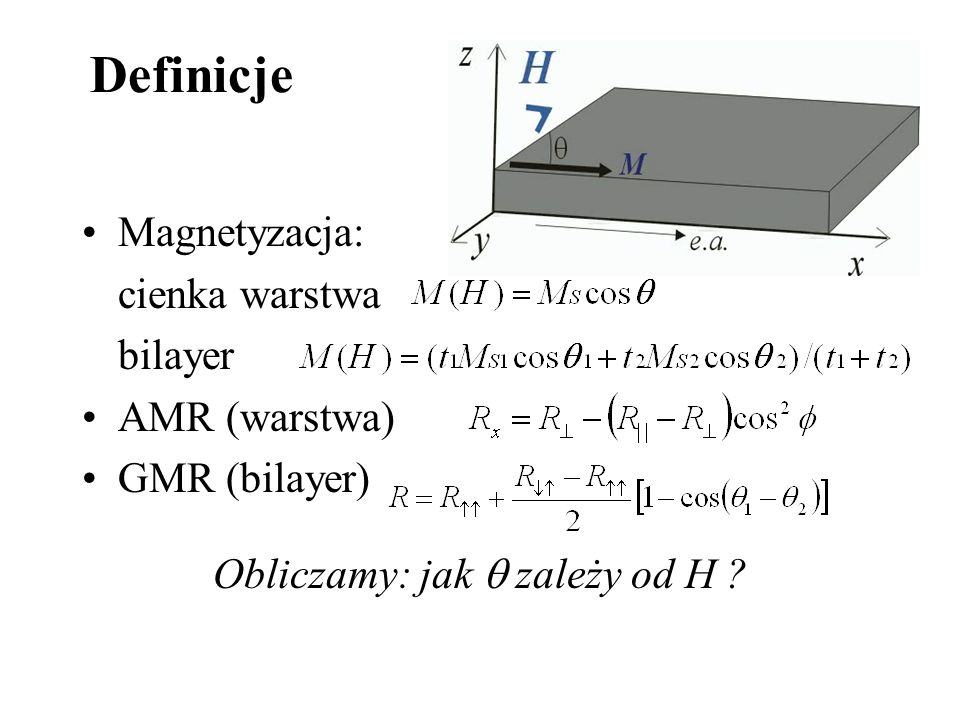 Definicje Magnetyzacja: cienka warstwa bilayer AMR (warstwa) GMR (bilayer) Obliczamy: jak zależy od H ?