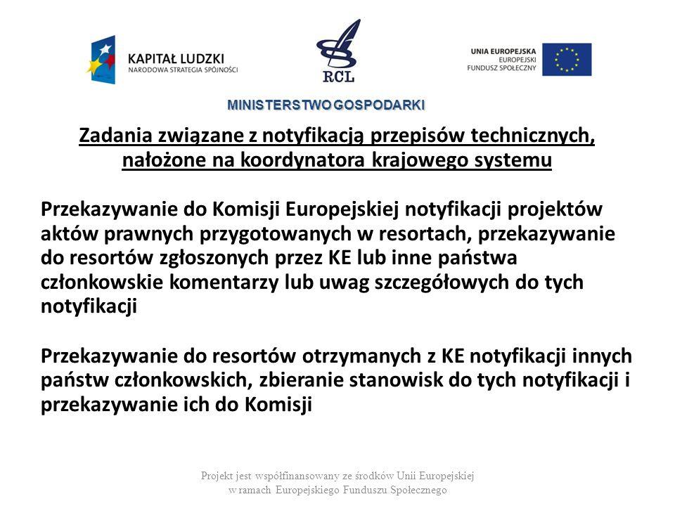 MINISTERSTWO GOSPODARKI Zadania związane z notyfikacją przepisów technicznych, nałożone na koordynatora krajowego systemu Przekazywanie do Komisji Europejskiej notyfikacji projektów aktów prawnych przygotowanych w resortach, przekazywanie do resortów zgłoszonych przez KE lub inne państwa członkowskie komentarzy lub uwag szczegółowych do tych notyfikacji Przekazywanie do resortów otrzymanych z KE notyfikacji innych państw członkowskich, zbieranie stanowisk do tych notyfikacji i przekazywanie ich do Komisji Projekt jest współfinansowany ze środków Unii Europejskiej w ramach Europejskiego Funduszu Społecznego