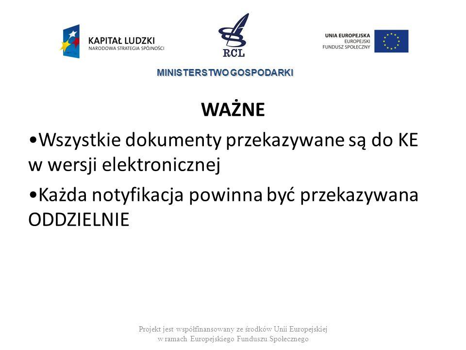 MINISTERSTWO GOSPODARKI WAŻNE Wszystkie dokumenty przekazywane są do KE w wersji elektronicznej Każda notyfikacja powinna być przekazywana ODDZIELNIE Projekt jest współfinansowany ze środków Unii Europejskiej w ramach Europejskiego Funduszu Społecznego
