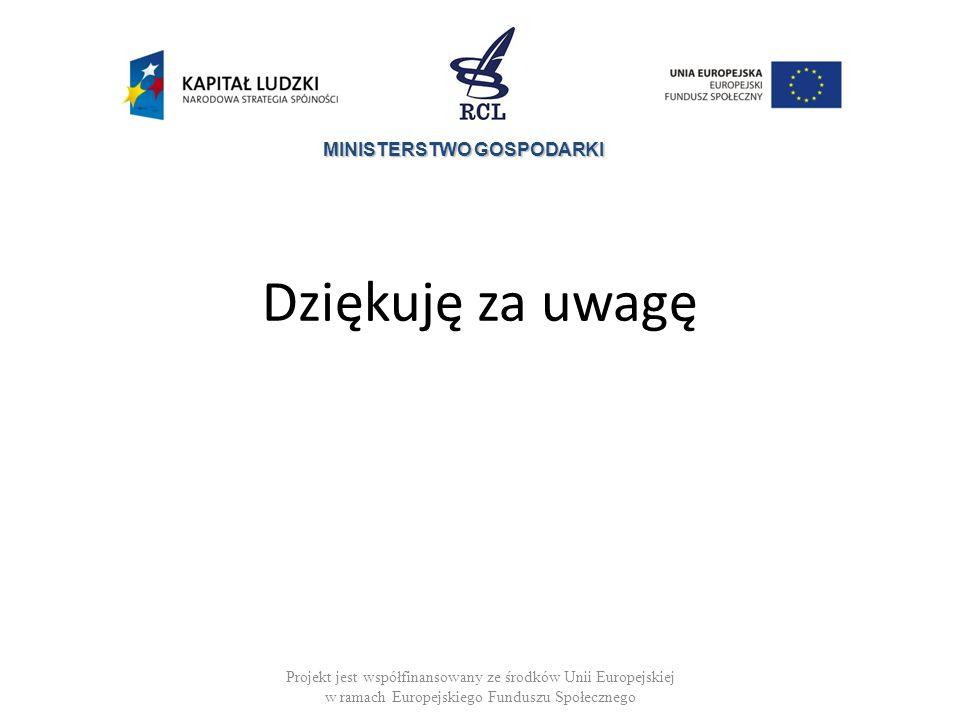 MINISTERSTWO GOSPODARKI Dziękuję za uwagę Projekt jest współfinansowany ze środków Unii Europejskiej w ramach Europejskiego Funduszu Społecznego