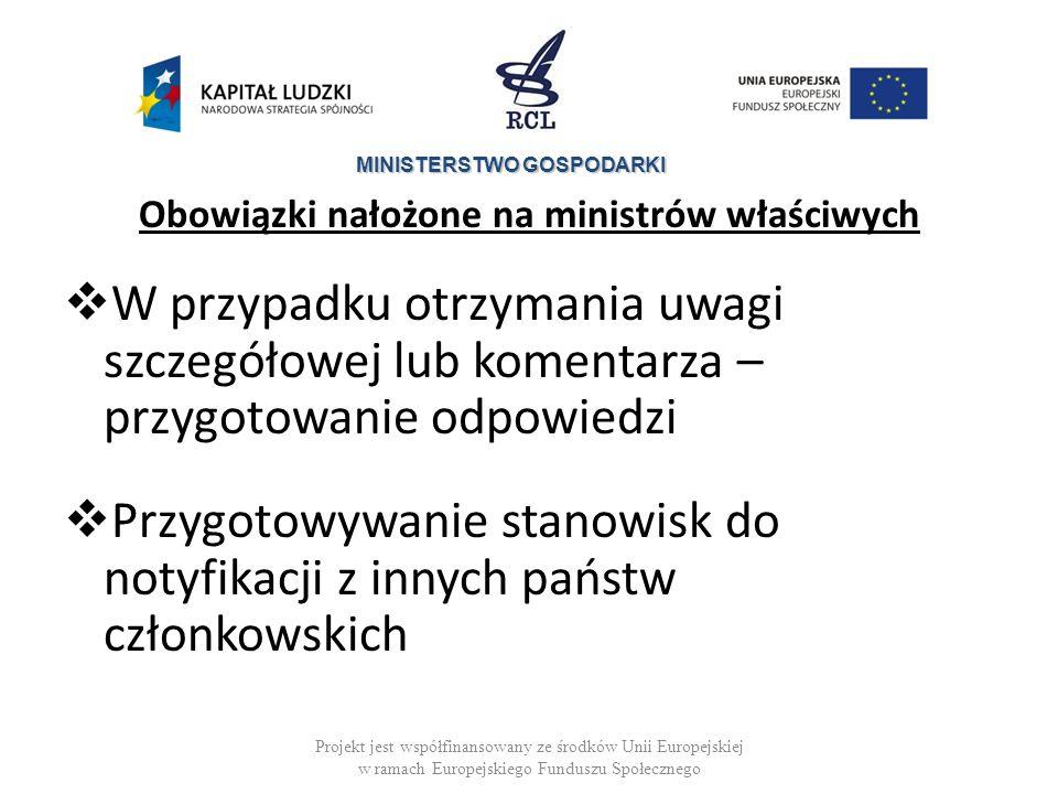 MINISTERSTWO GOSPODARKI Obowiązki nałożone na ministrów właściwych Ustawa z dnia 4 września 1997 r.