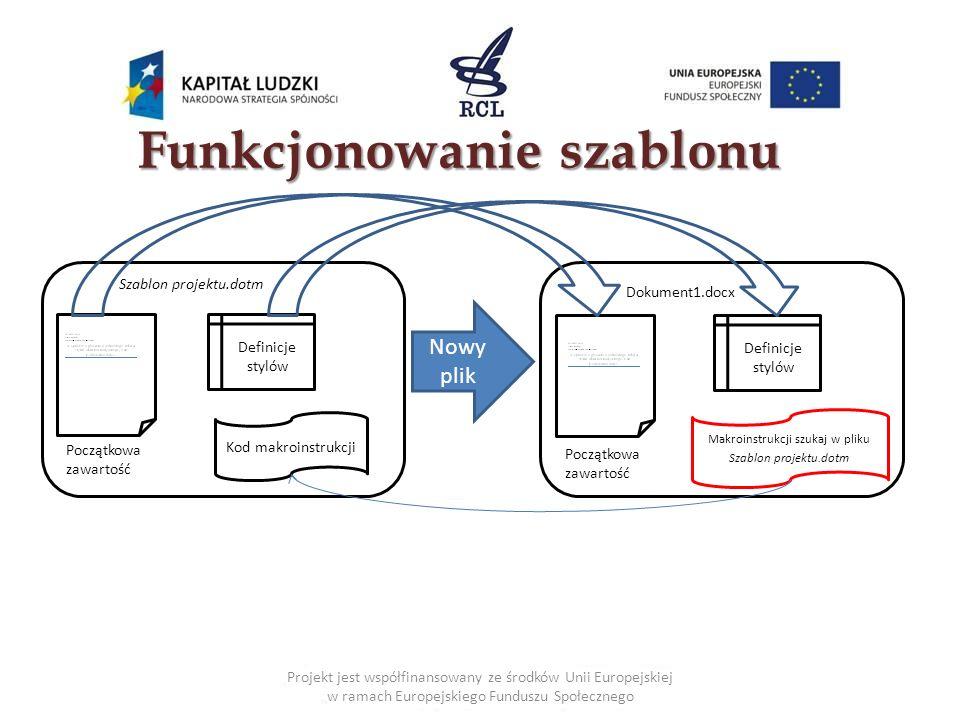 10 Funkcjonowanie szablonu Szablon projektu.dotm Kod makroinstrukcji Początkowa zawartość Definicje stylów Dokument1.docx Początkowa zawartość Definicje stylów Nowy plik Makroinstrukcji szukaj w pliku Szablon projektu.dotm Projekt jest współfinansowany ze środków Unii Europejskiej w ramach Europejskiego Funduszu Społecznego