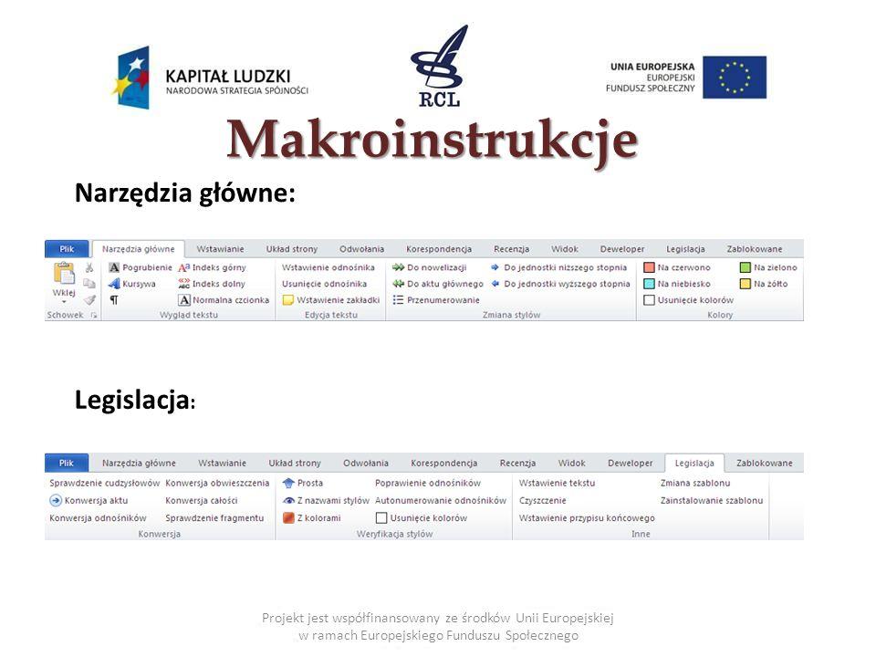 Makroinstrukcje Projekt jest współfinansowany ze środków Unii Europejskiej w ramach Europejskiego Funduszu Społecznego Narzędzia główne: Legislacja :