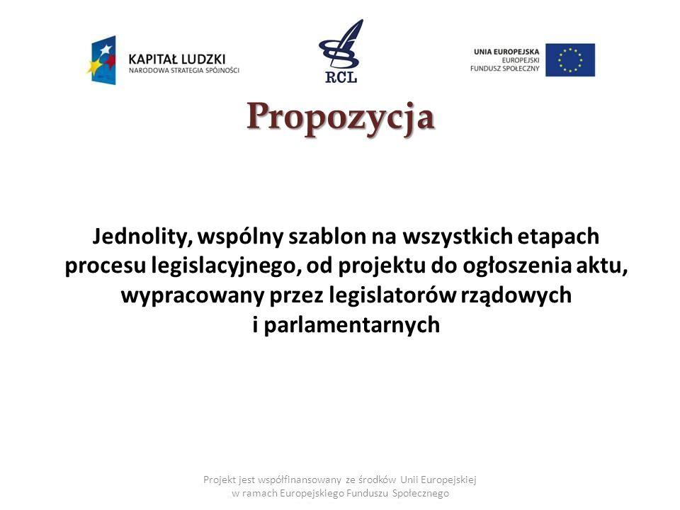 Projekt jest współfinansowany ze środków Unii Europejskiej w ramach Europejskiego Funduszu Społecznego Propozycja Jednolity, wspólny szablon na wszystkich etapach procesu legislacyjnego, od projektu do ogłoszenia aktu, wypracowany przez legislatorów rządowych i parlamentarnych
