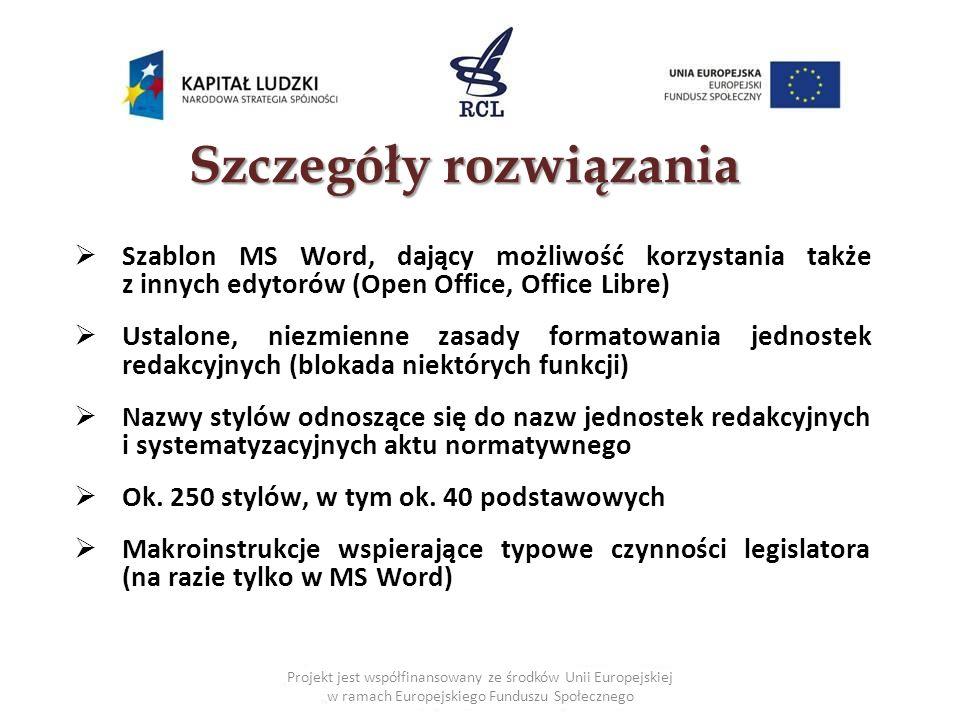 Projekt jest współfinansowany ze środków Unii Europejskiej w ramach Europejskiego Funduszu Społecznego Szablon udostępniony na stronie RCL