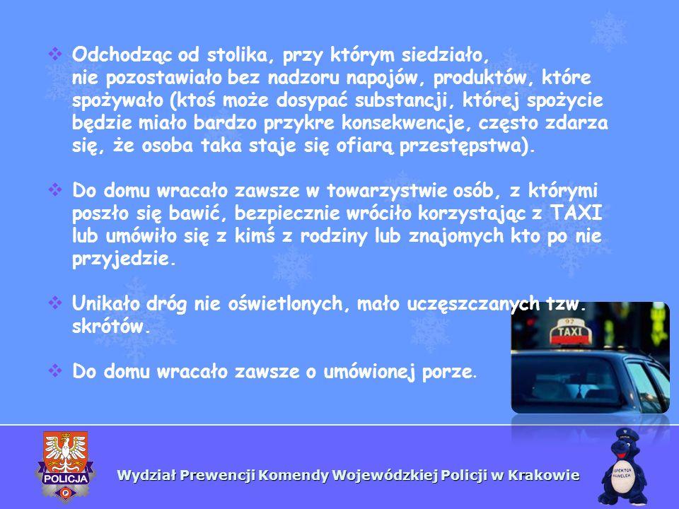 Wydział Prewencji Komendy Wojewódzkiej Policji w Krakowie Odchodząc od stolika, przy którym siedziało, nie pozostawiało bez nadzoru napojów, produktów