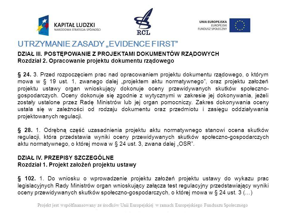 UTRZYMANIE ZASADY EVIDENCE FIRST DZIAŁ III. POSTĘPOWANIE Z PROJEKTAMI DOKUMENTÓW RZĄDOWYCH Rozdział 2. Opracowanie projektu dokumentu rządowego § 24.