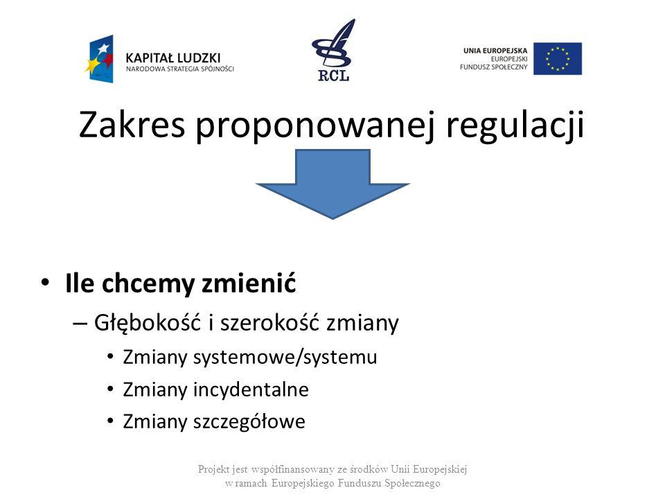 Zakres proponowanej regulacji Ile chcemy zmienić – Głębokość i szerokość zmiany Zmiany systemowe/systemu Zmiany incydentalne Zmiany szczegółowe Projek
