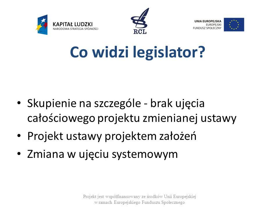 Zadanie legislatora Realizacja założeń - przepisy ustawy Pomoc w realizacji zamierzenia legislacyjnego Projekt jest współfinansowany ze środków Unii Europejskiej w ramach Europejskiego Funduszu Społecznego