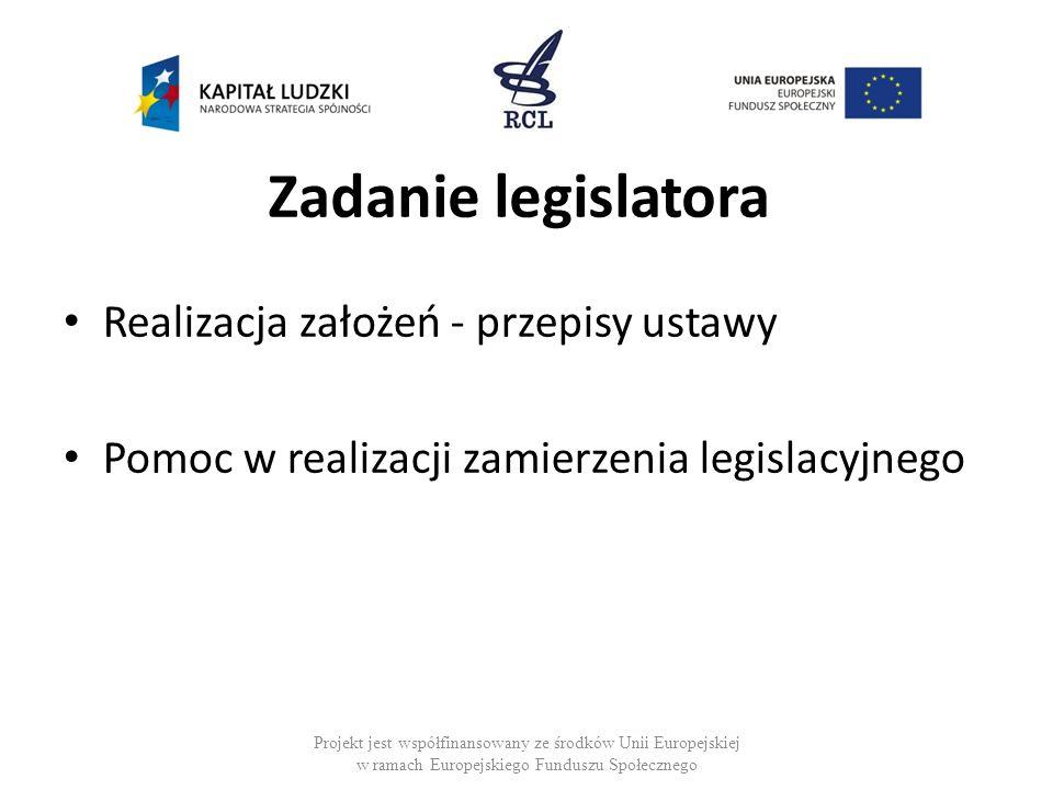 Zadanie legislatora Realizacja założeń - przepisy ustawy Pomoc w realizacji zamierzenia legislacyjnego Projekt jest współfinansowany ze środków Unii E