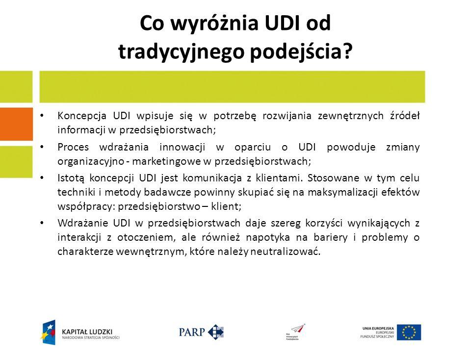 Co wyróżnia UDI od tradycyjnego podejścia? Koncepcja UDI wpisuje się w potrzebę rozwijania zewnętrznych źródeł informacji w przedsiębiorstwach; Proces