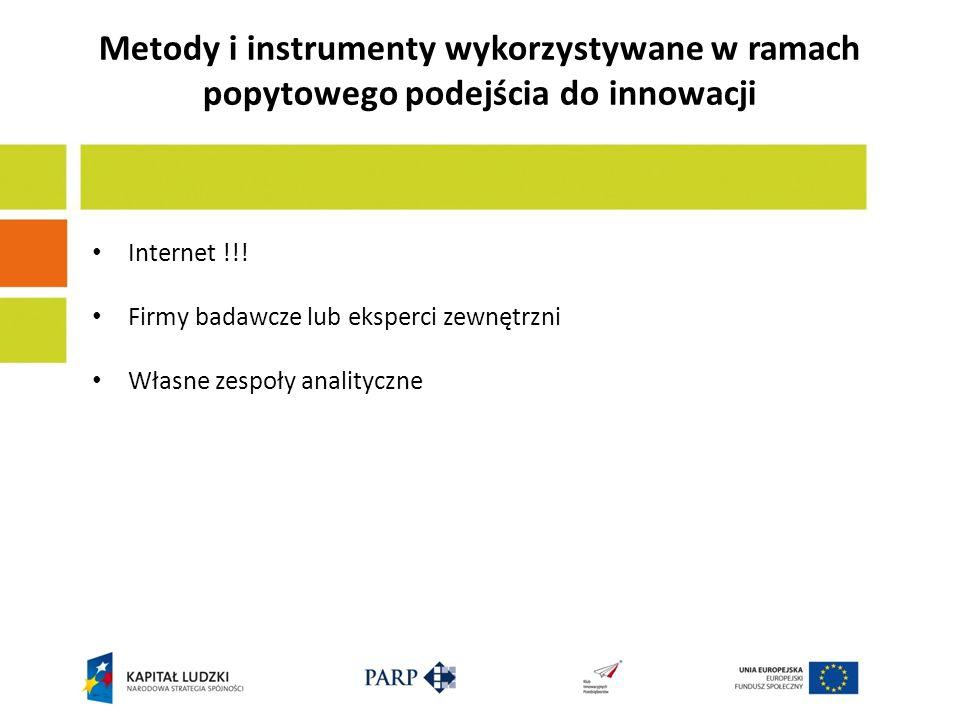 Internet !!! Firmy badawcze lub eksperci zewnętrzni Własne zespoły analityczne Metody i instrumenty wykorzystywane w ramach popytowego podejścia do in