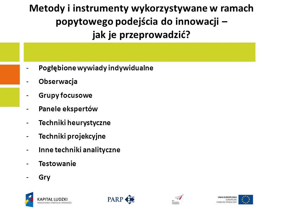 Metody i instrumenty wykorzystywane w ramach popytowego podejścia do innowacji – jak je przeprowadzić? - Pogłębione wywiady indywidualne - Obserwacja