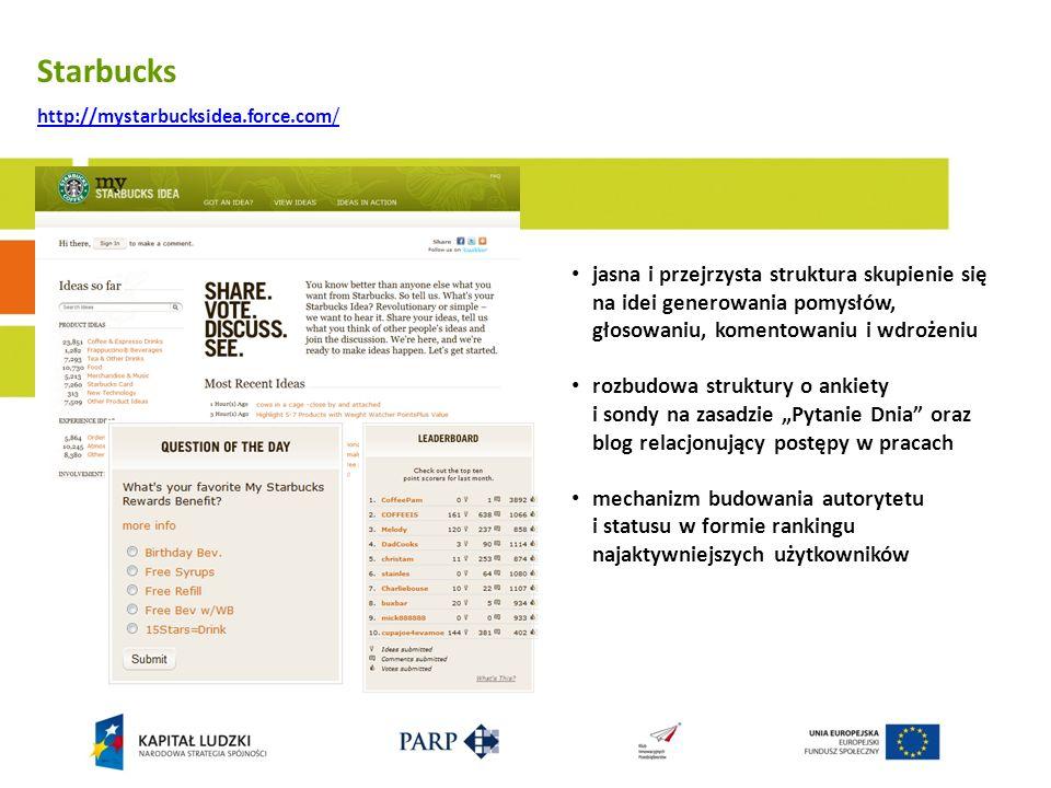Starbucks http://mystarbucksidea.force.com/ jasna i przejrzysta struktura skupienie się na idei generowania pomysłów, głosowaniu, komentowaniu i wdroż