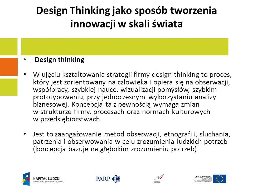 Design Thinking jako sposób tworzenia innowacji w skali świata Design thinking W ujęciu kształtowania strategii firmy design thinking to proces, który