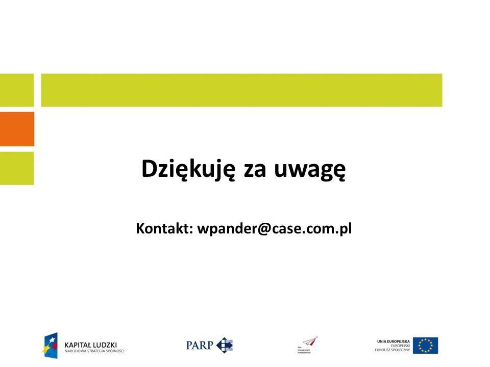 Dziękuję za uwagę Kontakt: wpander@case.com.pl