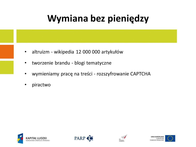 Wymiana bez pieniędzy altruizm - wikipedia 12 000 000 artykułów tworzenie brandu - blogi tematyczne wymieniamy pracę na treści - rozszyfrowanie CAPTCHA piractwo