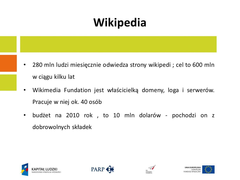 Wikipedia 280 mln ludzi miesięcznie odwiedza strony wikipedi ; cel to 600 mln w ciągu kilku lat Wikimedia Fundation jest właścicielką domeny, loga i serwerów.