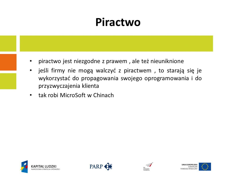piractwo jest niezgodne z prawem, ale też nieuniknione jeśli firmy nie mogą walczyć z piractwem, to starają się je wykorzystać do propagowania swojego